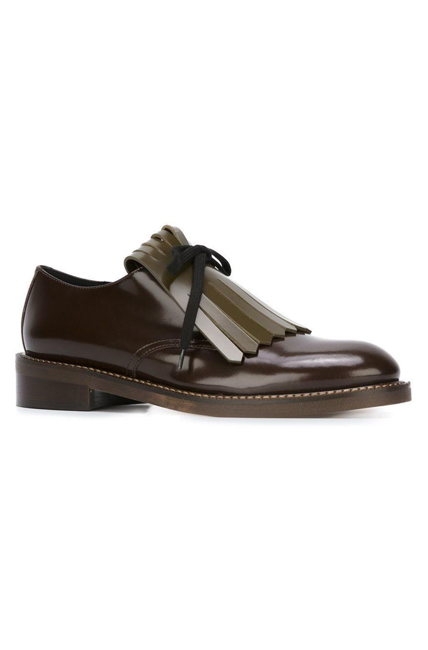 Shop Marni fringed lace-up Derby shoes.