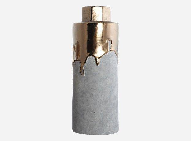 Dp0240 - Vase, Hexa, gold, dia.: 8/12 cm, h.: 32 cm