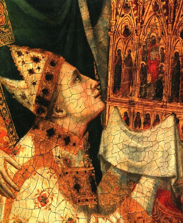 Giotto's werk geldt als een enorme doorbraak en hij wordt wel gezien als de vader van de moderne schilderkunst en de belangrijkste schilder van zijn tijd. Het is moeilijk om precies het begin van de Italiaanse Rinascimento (Renaissance) aan te duiden, maar sommigen menen dat deze met Giotto aanving. Detail triptiek van Kardinaal Jacopu Stefaneschi (1313-1314), Vaticaan, Rome