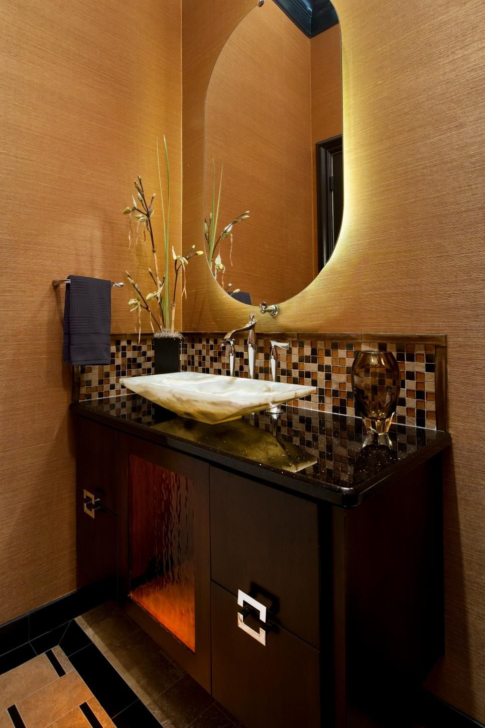 This Warm Asian Inspired Bathroom Features A Dark Wood Vanity