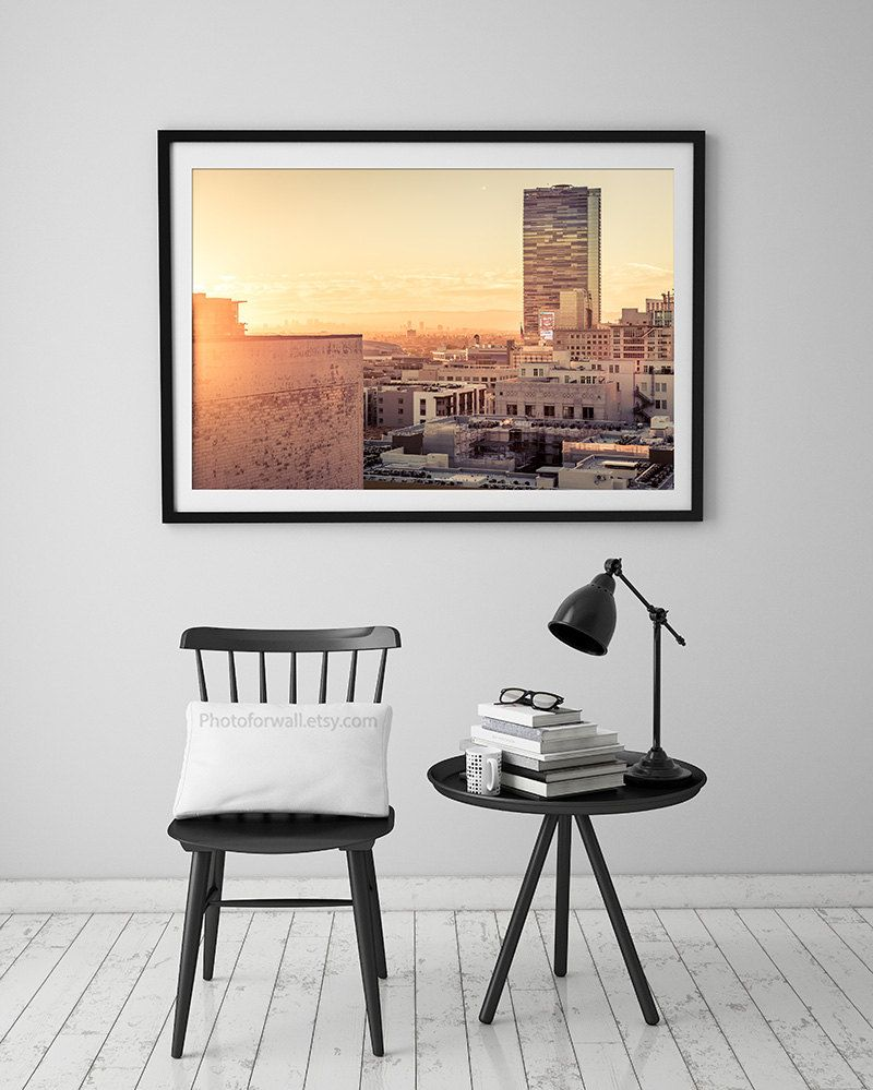 Los angeles skyline at sunset photography california photography
