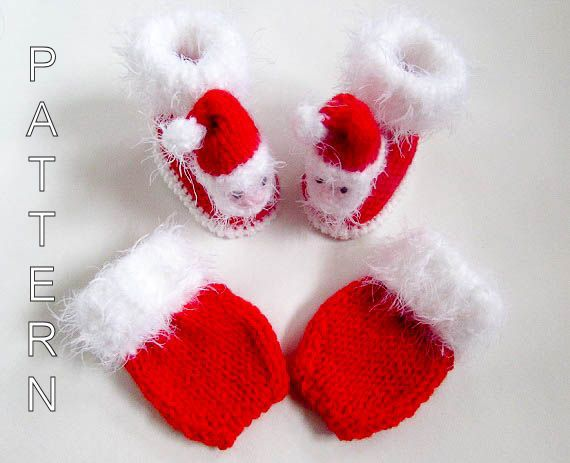 b4512b5cd352c Knitting Pattern Santa Baby Booties Mittens Shoes Baby Bootees Baby ...