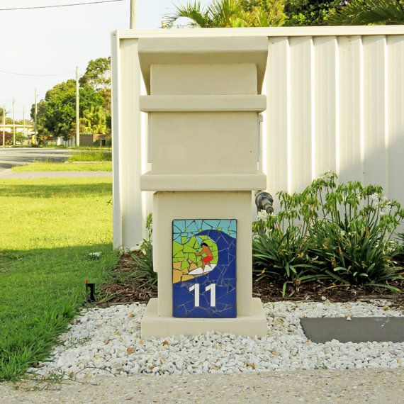 Mosaic House Number Plaque Vertical Outdoor Beach
