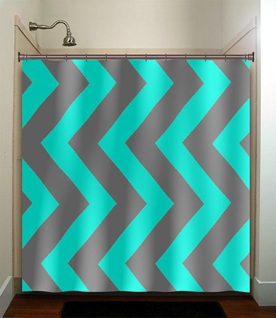 Turquoise Aqua Blue Gray Vertical Chevron Shower Curtain Bathroom - Turquoise bathroom rugs for bathroom decorating ideas