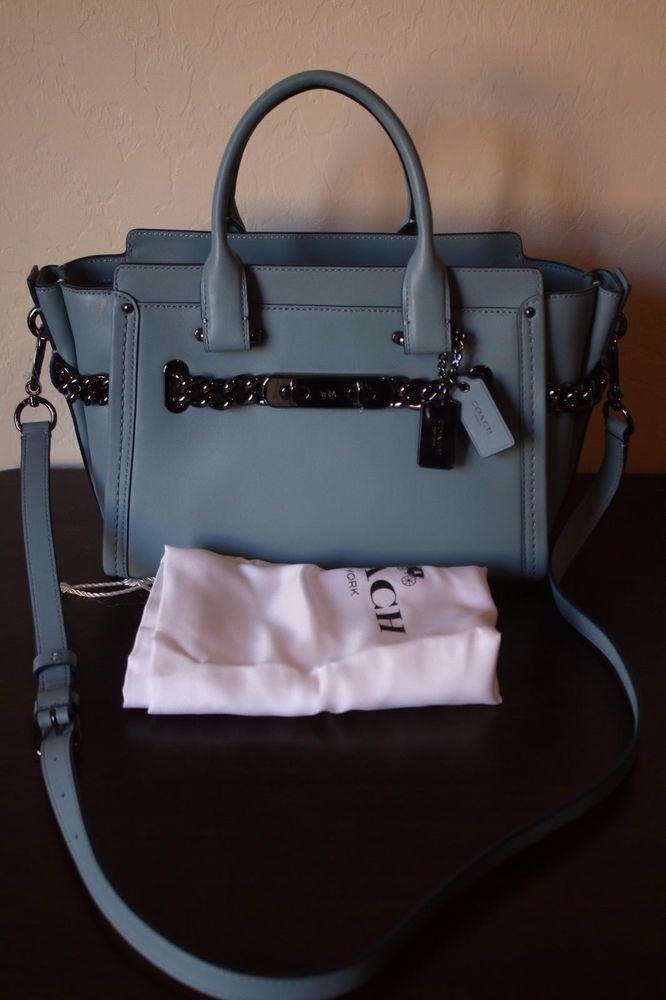 63f67c027fa1 COACH Swagger 27 Glovetanned Leather Cloud Gunmetal Hardware Blue Gray  Purse  Coach  Satchel
