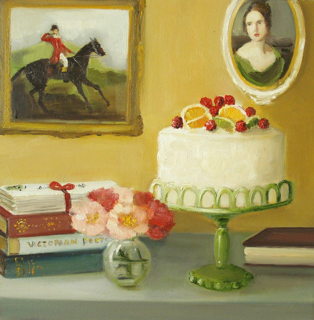 Books and cake, Janet Hill