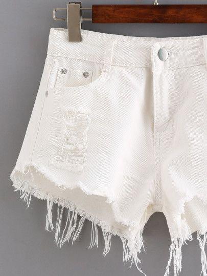 ca63eae2b2d Ripped Raw Hem White Denim Shorts