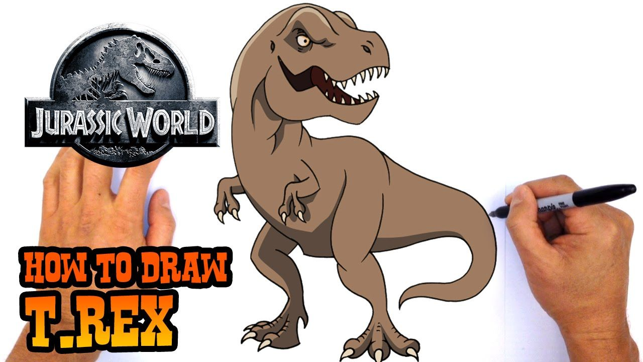 How To Draw T Rex Jurassic World Youtube T Rex Cartoon Drawings Animal Drawings