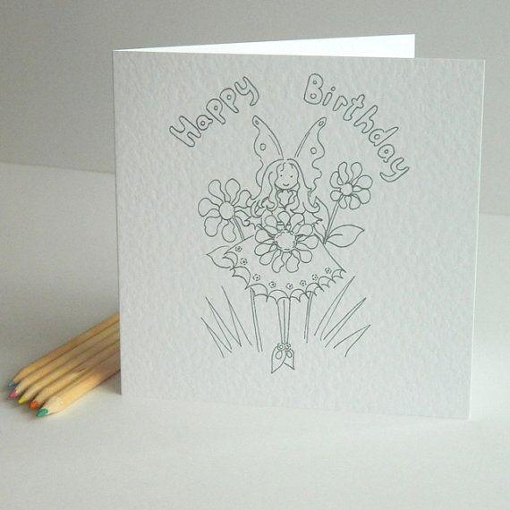 Fairy Birthday Card To Colour Fairy Colouring Card Fairy Birthday