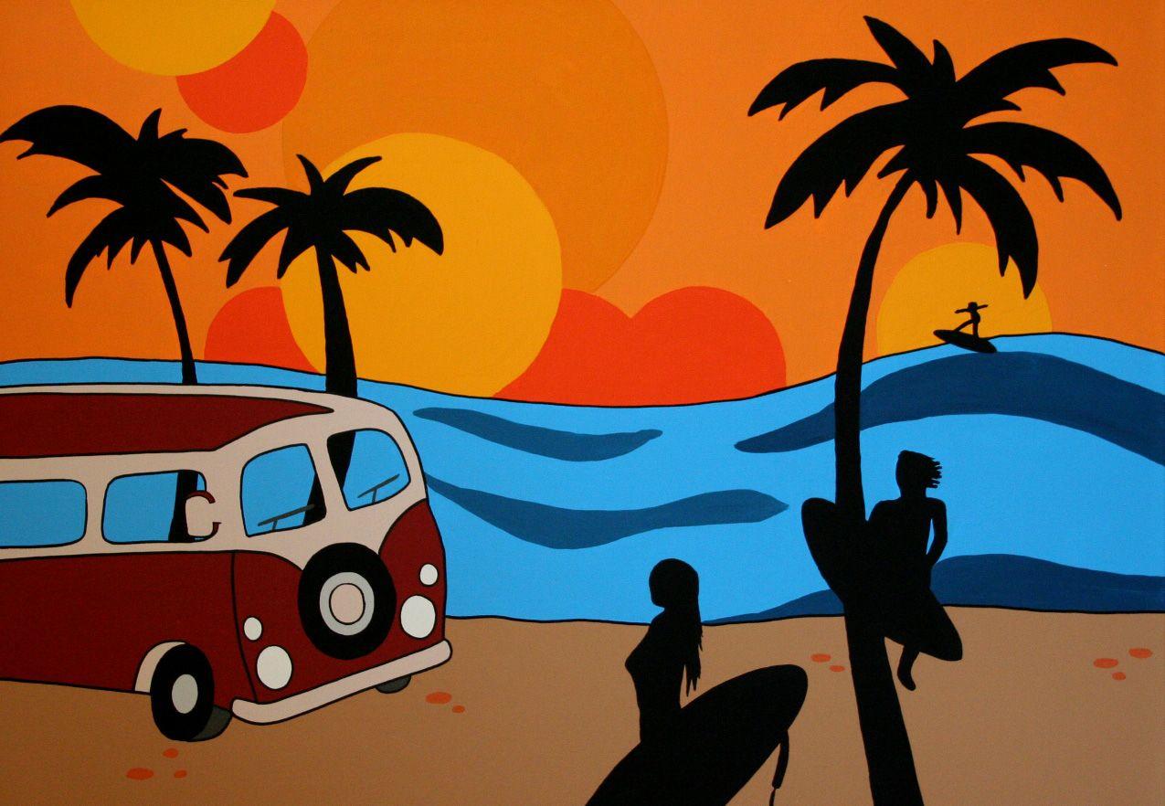 VW busje met surfers
