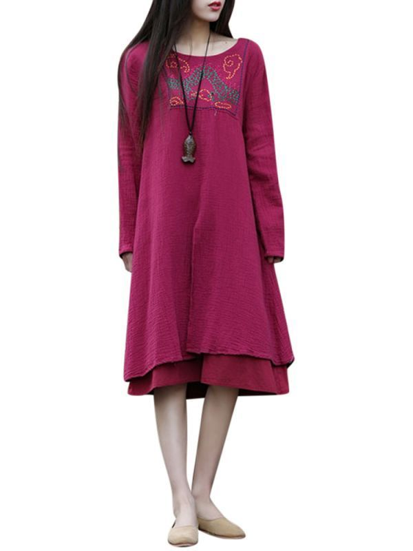 Casual Dresses Size Xl Vintage Women Embroidery Loose Long Sleeve
