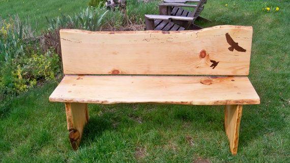 Salvaged Live Edge Wood Slab Bench With Inlays By Shabadashery 475 00 Diy Yard Furniture Wood Slab Wood