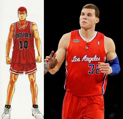 Blake Griffin Hanamichi Sakuragi Look Alike Blake Griffin Sports Look Alike