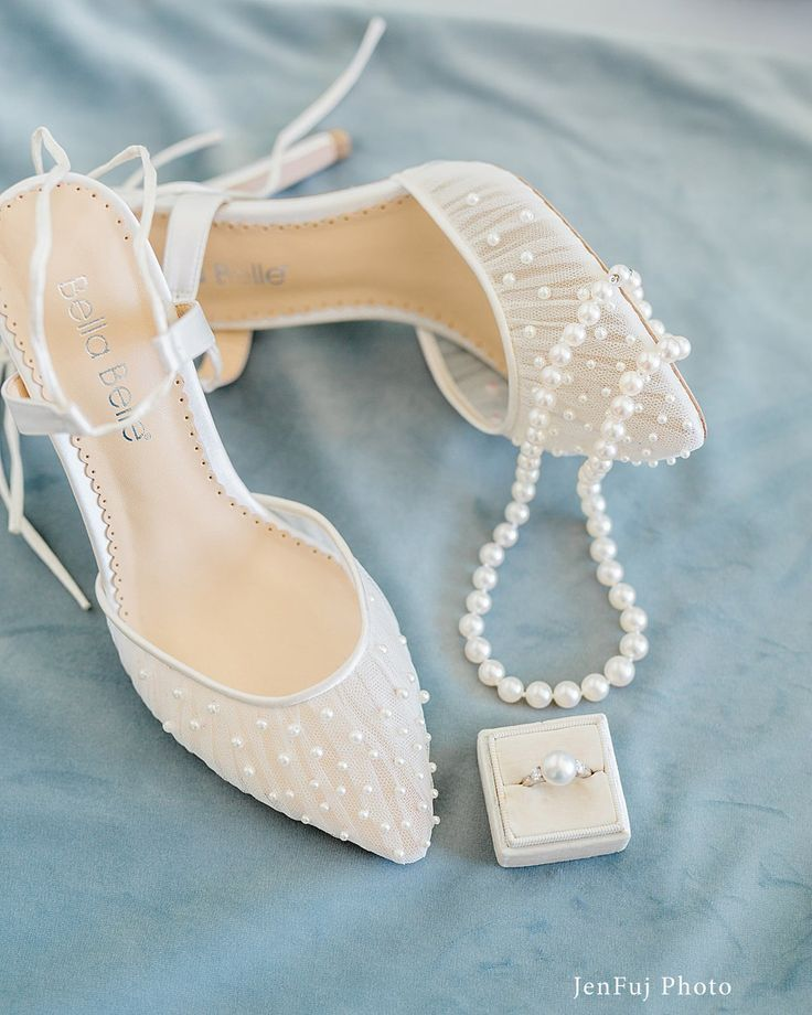 Pleated Tulle And Pearls Ivory Wedding Shoe In 2020 Bride Shoes Wedge Wedding Shoes Wedding Shoes