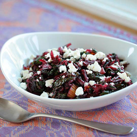 Sauteed rainbow chard with raw beets and goat cheese.