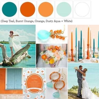 Caribbean Color A Palette Of Shades Of Teal Orange White Orange Color Palettes Perfect Palette Teal Orange Weddings