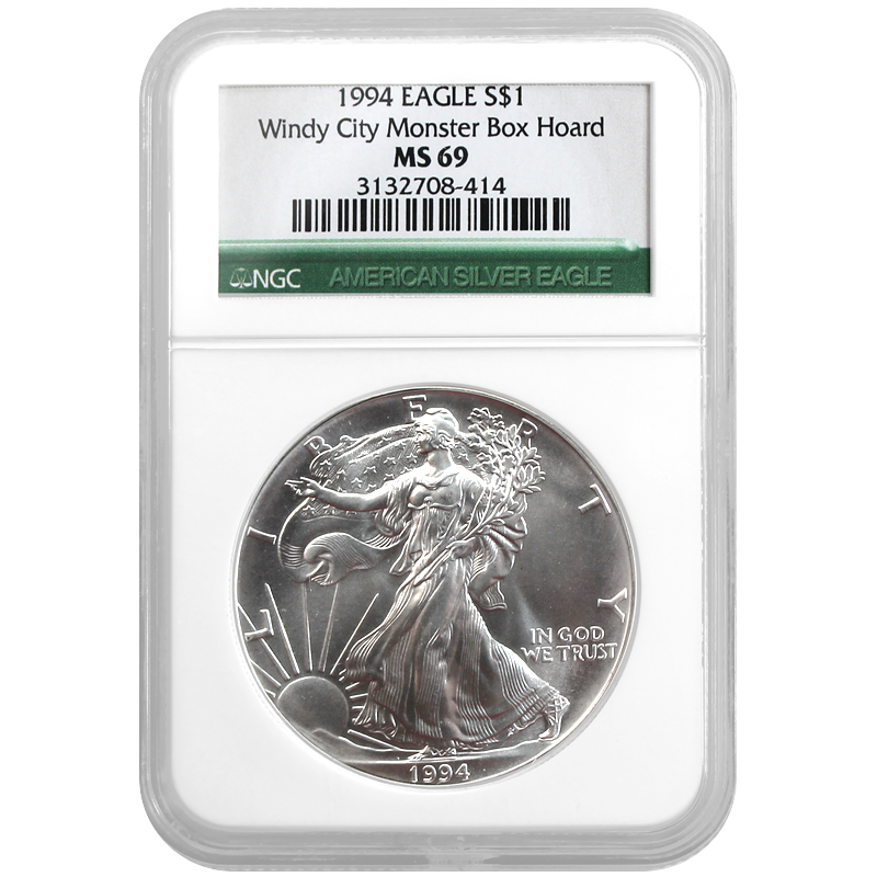 1994 Silver American Eagle Windy City Monster Box Hoard Ms69 Ngc Green Label Monster Box Hoarding Metal Prices