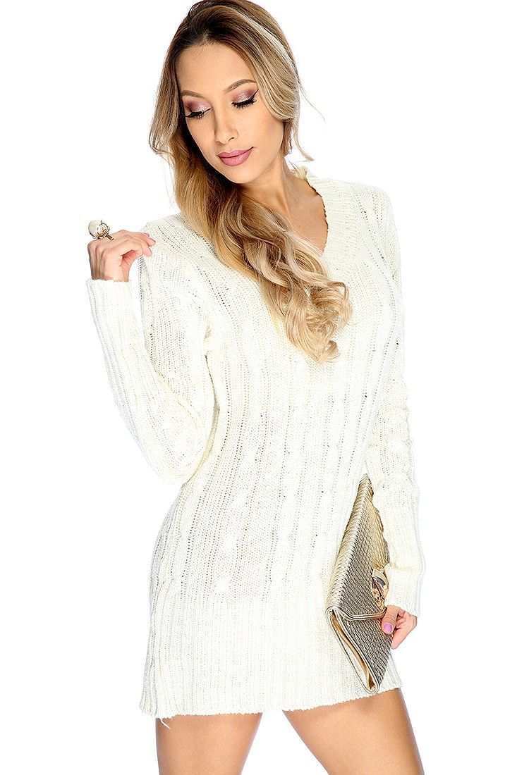 327af2db3b69 Keep Warm while looking chis this fall in this sweater dress featuring;  cable knitted, V-neck, long sleeves, and fitted. 100% Polyester.