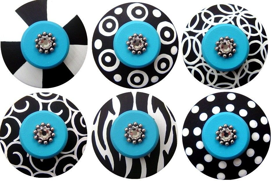 Black White Knobs Turquoise Knobs Hand Painted Knobs Decorative ...