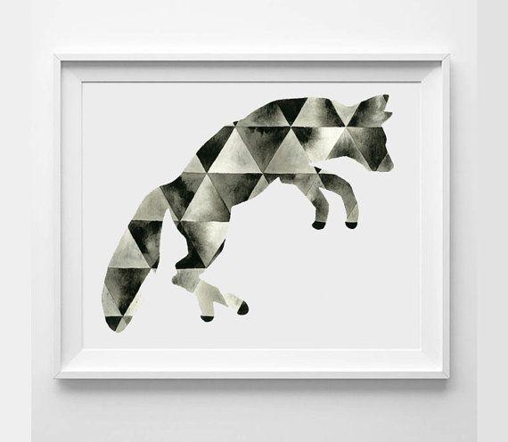 Large Hand Painted Art . Watercolor Fox . Geometric ...