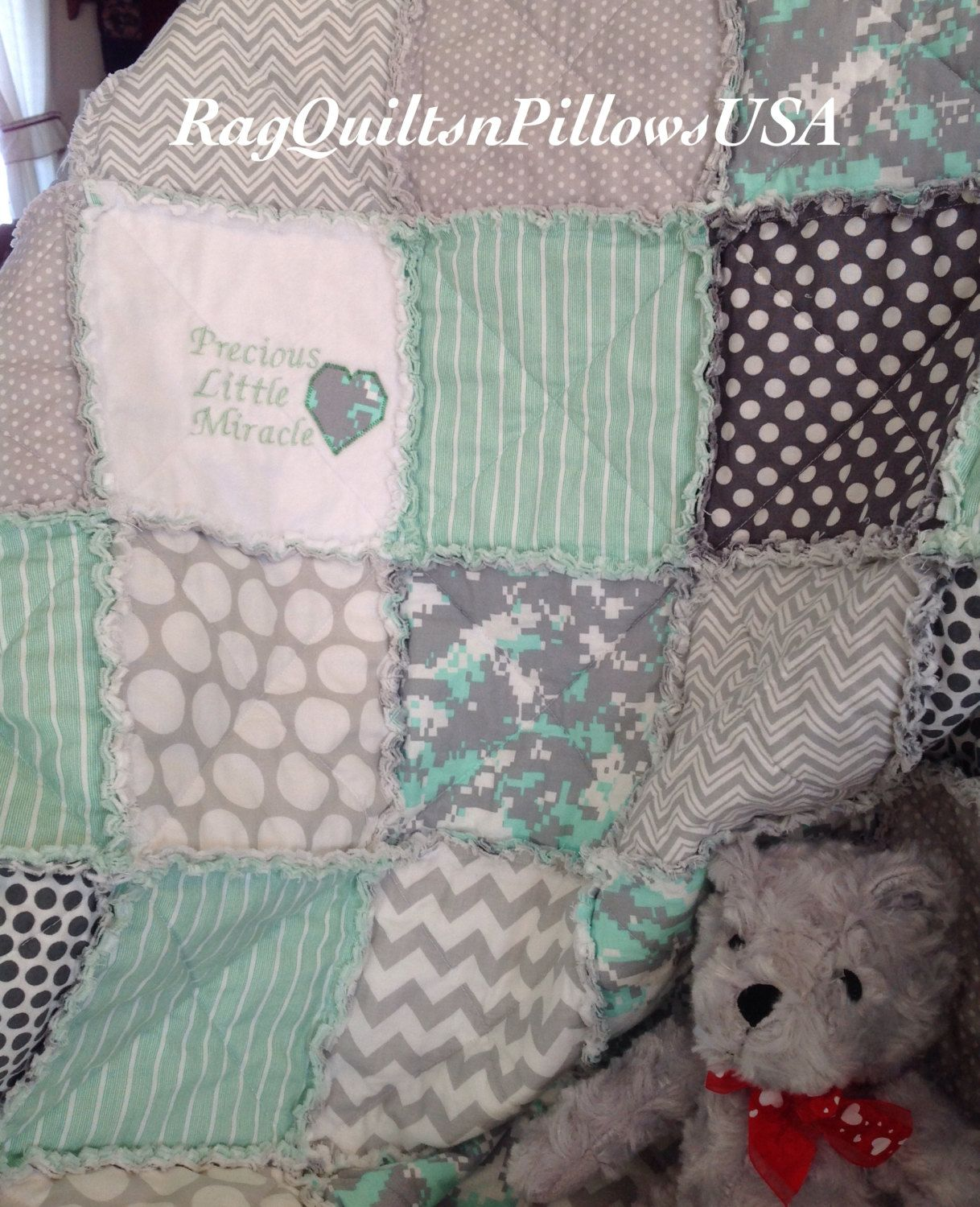 Mint Green Baby, Embroidery Baby Blanket, Camo Quilt, Homemade ... : handmade baby quilts etsy - Adamdwight.com