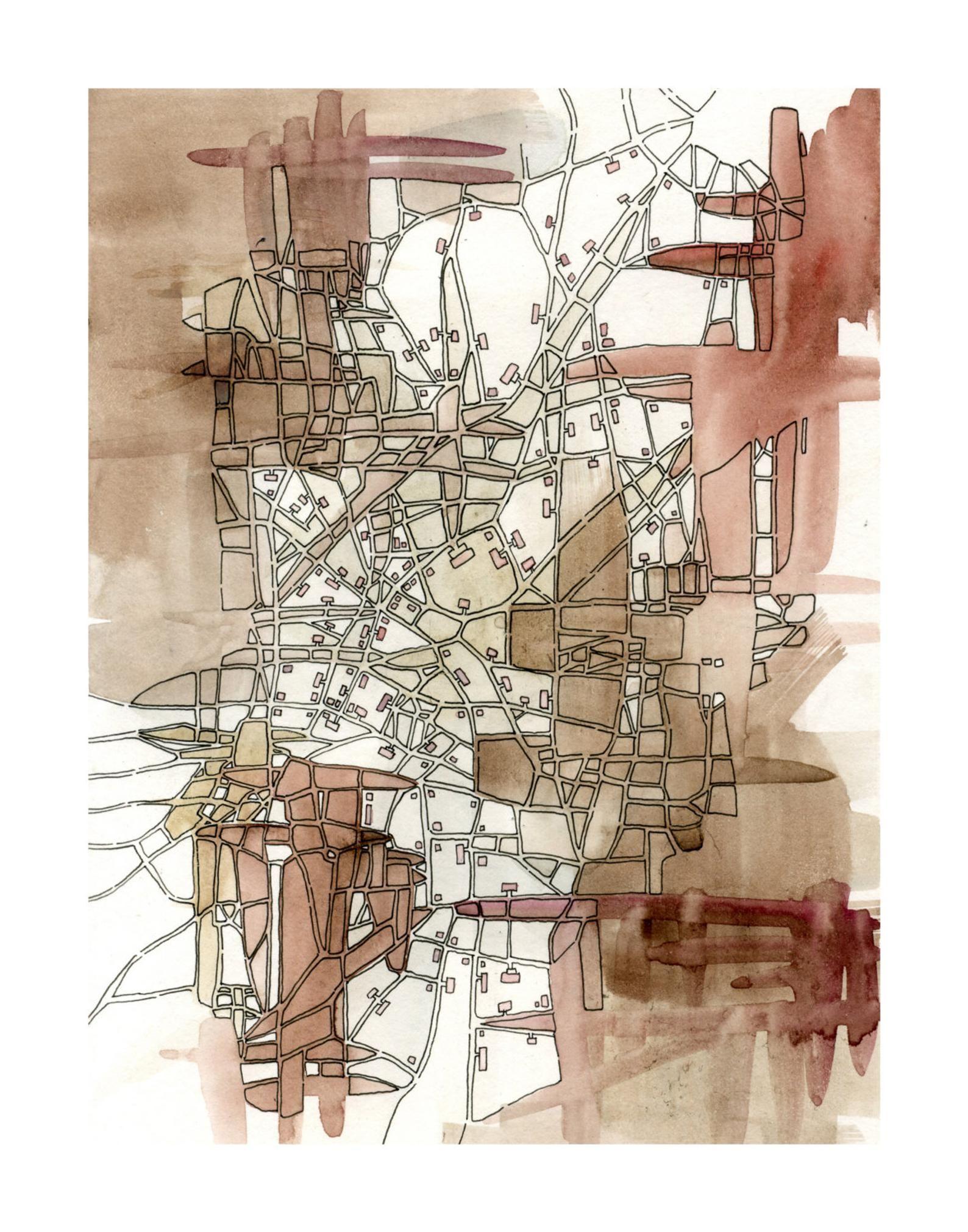 Print Sepia Lines Cityspace 221 | Etsy