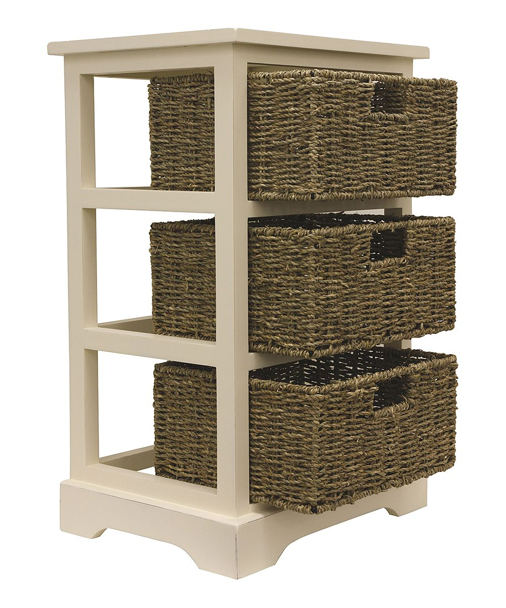 White Three-Basket Storage Shelves | Products | Basket