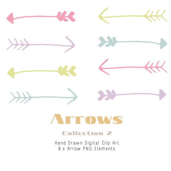 Hand Drawn Arrow Clip Art Elements by CreateTheCut on Etsy, £2.00