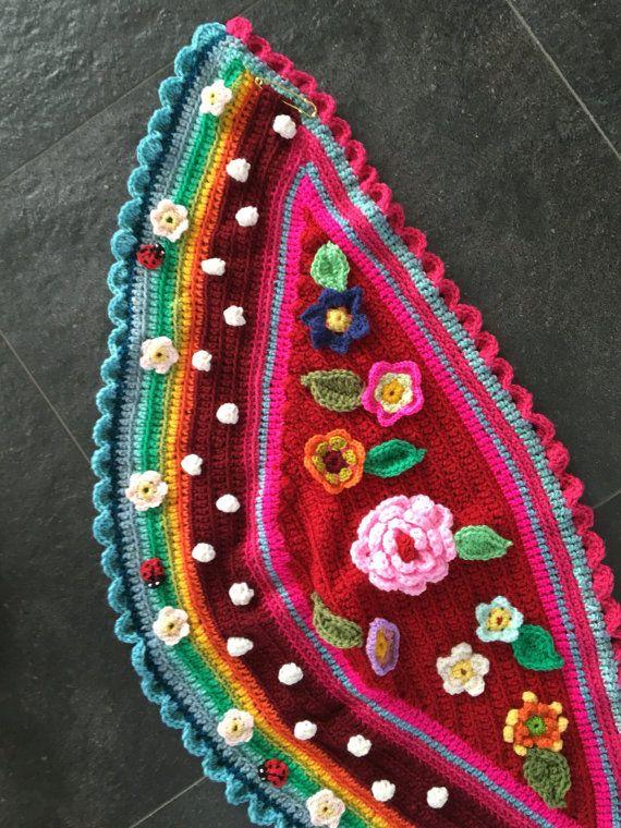 Omslagdoek Gehaakt Kind Bloemen Reemboog Stola Sjaal Door Pollevie