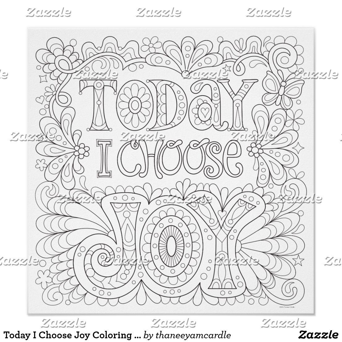 Today I Choose Joy Coloring Poster