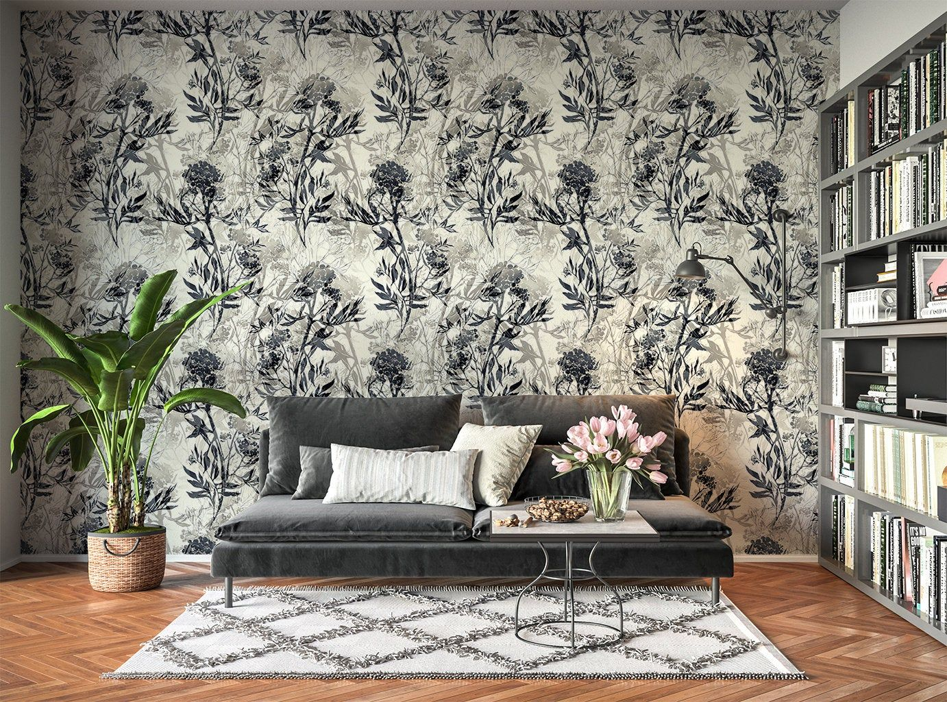 Removable Peel And Stick Wallpaper Neutral Beige Gray Floral Leaves Wallpaper In 2020 Peel And Stick Wallpaper Leaf Wallpaper Vinyl Wallpaper