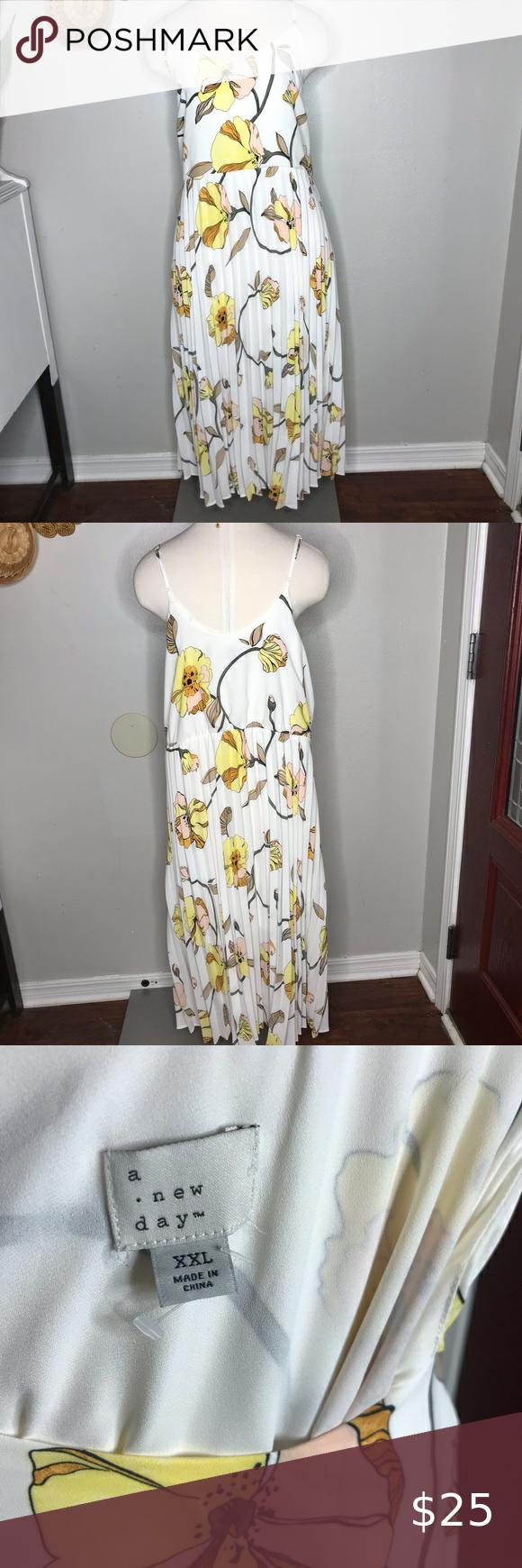Target A New Day White Floral Midi Dress Xxl White Floral Midi Dress Floral Midi Dress Yellow Dress Summer [ 1740 x 580 Pixel ]