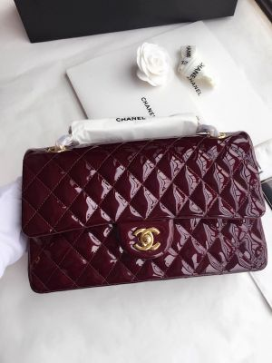 Chanel Classic Flap Bag Quilted Patent Calfskin Wine    #Classic #Flap #Bag #Quilted #Patent