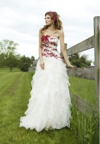 Organza strapless white wedding dresses with red accents ...