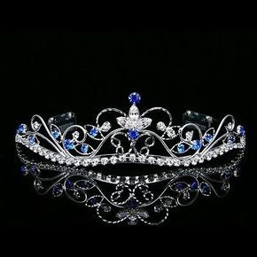 Silver Blue Bridal Rhinestones Crystal Prom Wedding Crown Tiara 8377 | eBay