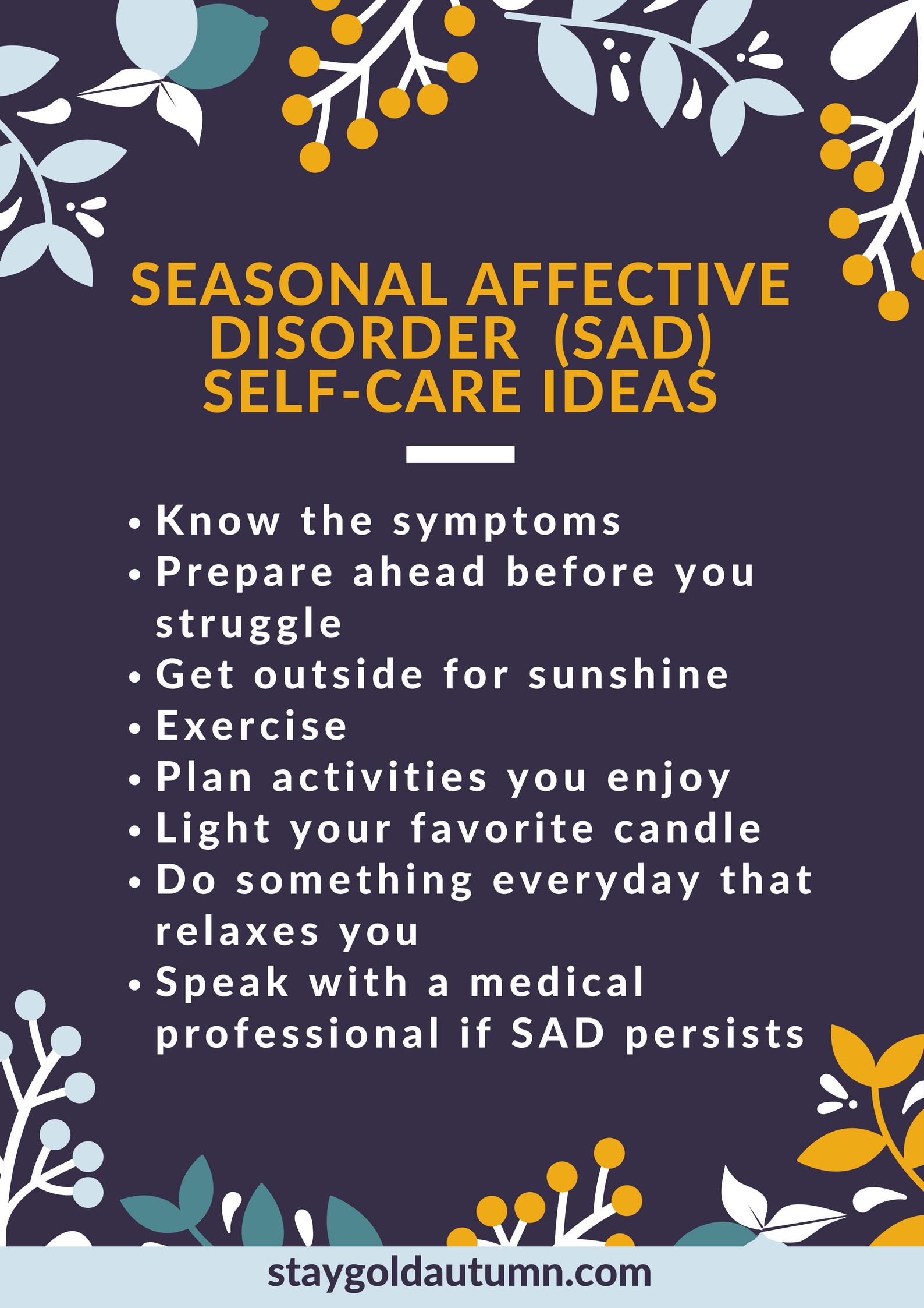 selfcare for Seasonal Affective Disorder Self care