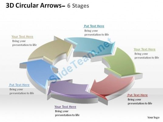 3d circular arrows process smartart 6 stages ppt slides diagrams, Modern powerpoint