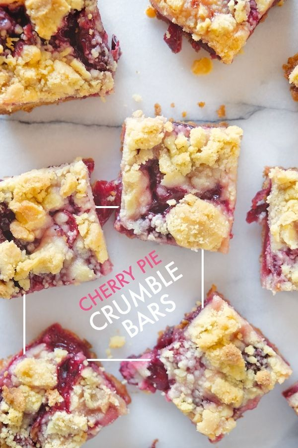 Cherry Pie Crumble Bars No patience to make a pie? Check out the recipe for these Cherry Pie Crumble Bars on ! Pie Crumble Bars No patience to make a pie? Check out the recipe for these Cherry Pie Crumble Bars on !No patience to make a pie? Check out the recipe for these Cherry Pie Crumble Bars on !