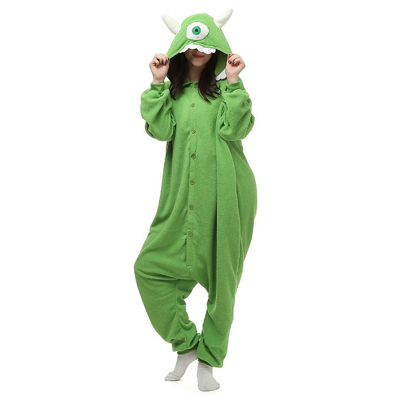 Mike Wazowski Movie Green Polar Fleece Cosplay Costumes Animal Onesies Pajamas Jumpsuit for Teens Adults Mens Womens Homewear Comfy Cheap