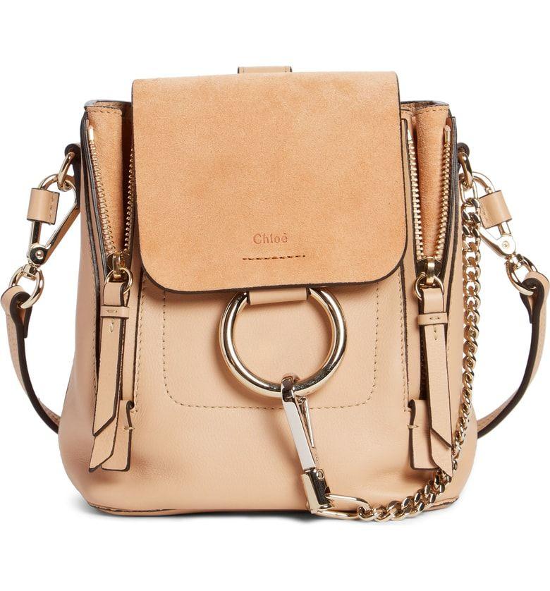f4c6d77334319 Chloe Mini Faye Leather & Suede Backpack Blush Nude | handbags ...