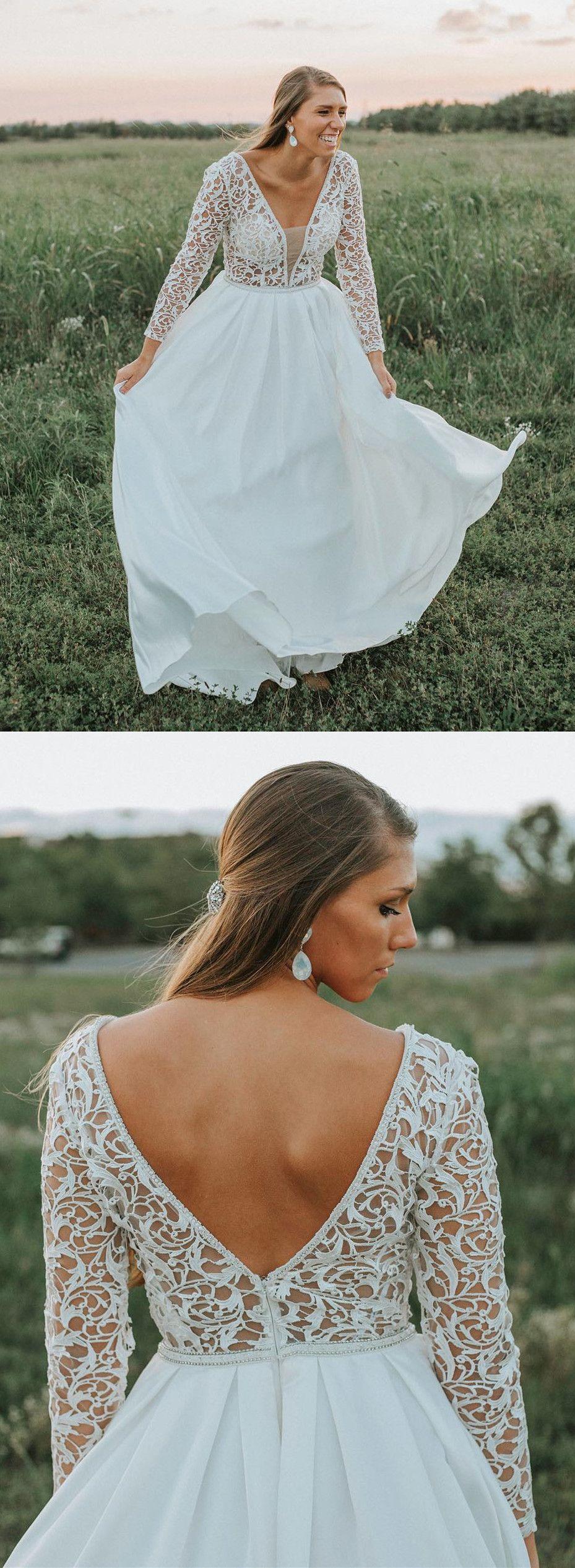 Long sleeves white long wedding dress from modsele prom dresses