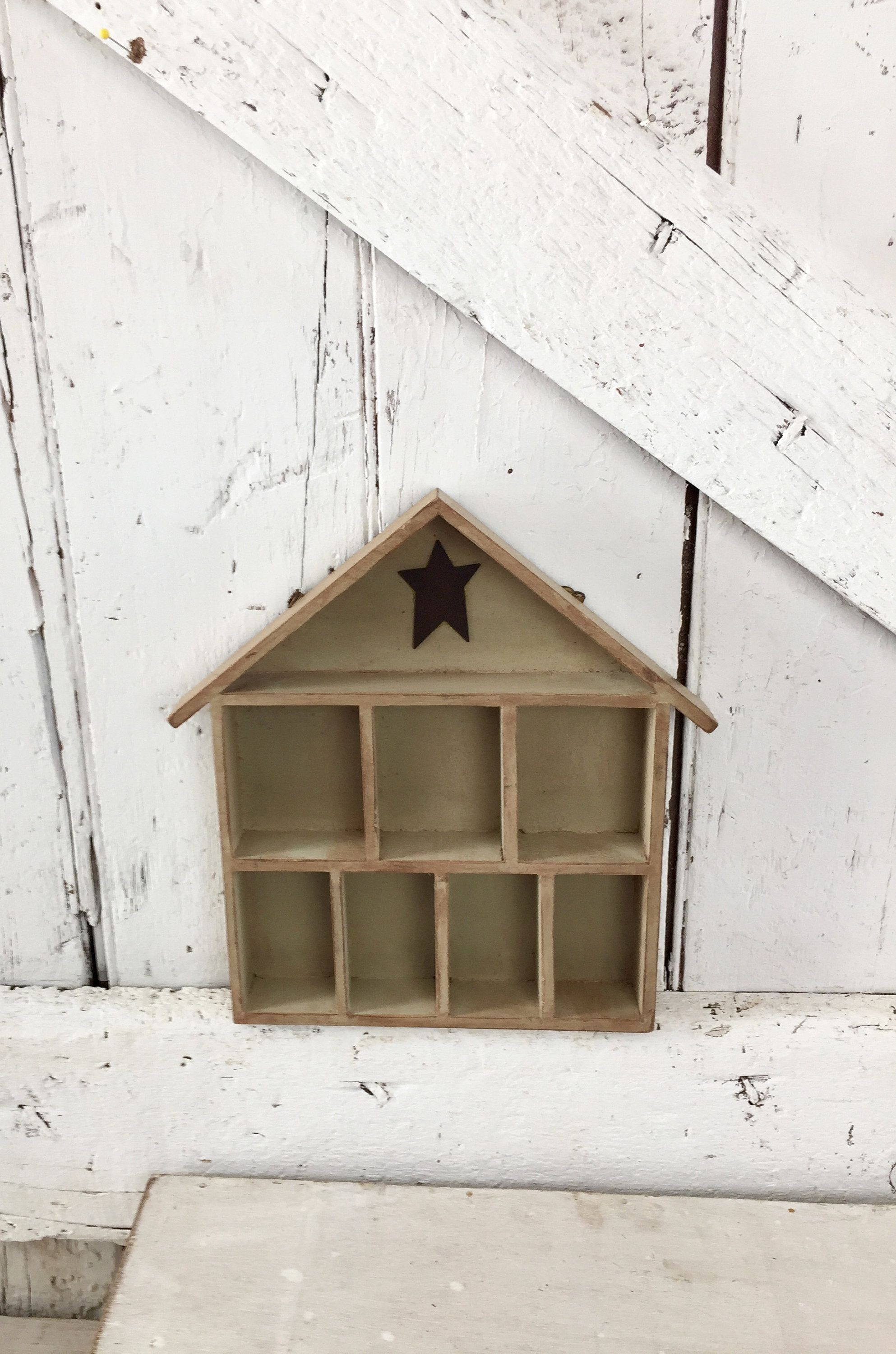 Small Wooden Cubby Shelf House Shaped Six Cubicles Shadow Box With Metal Star By Lititzcarriagehouse On Etsy Wooden Cubby Cubby Shelves Draw Woodworking Plans