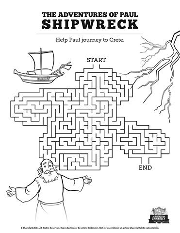 Acts 27 Shipwreck Bible Mazes: Featuring illustrations