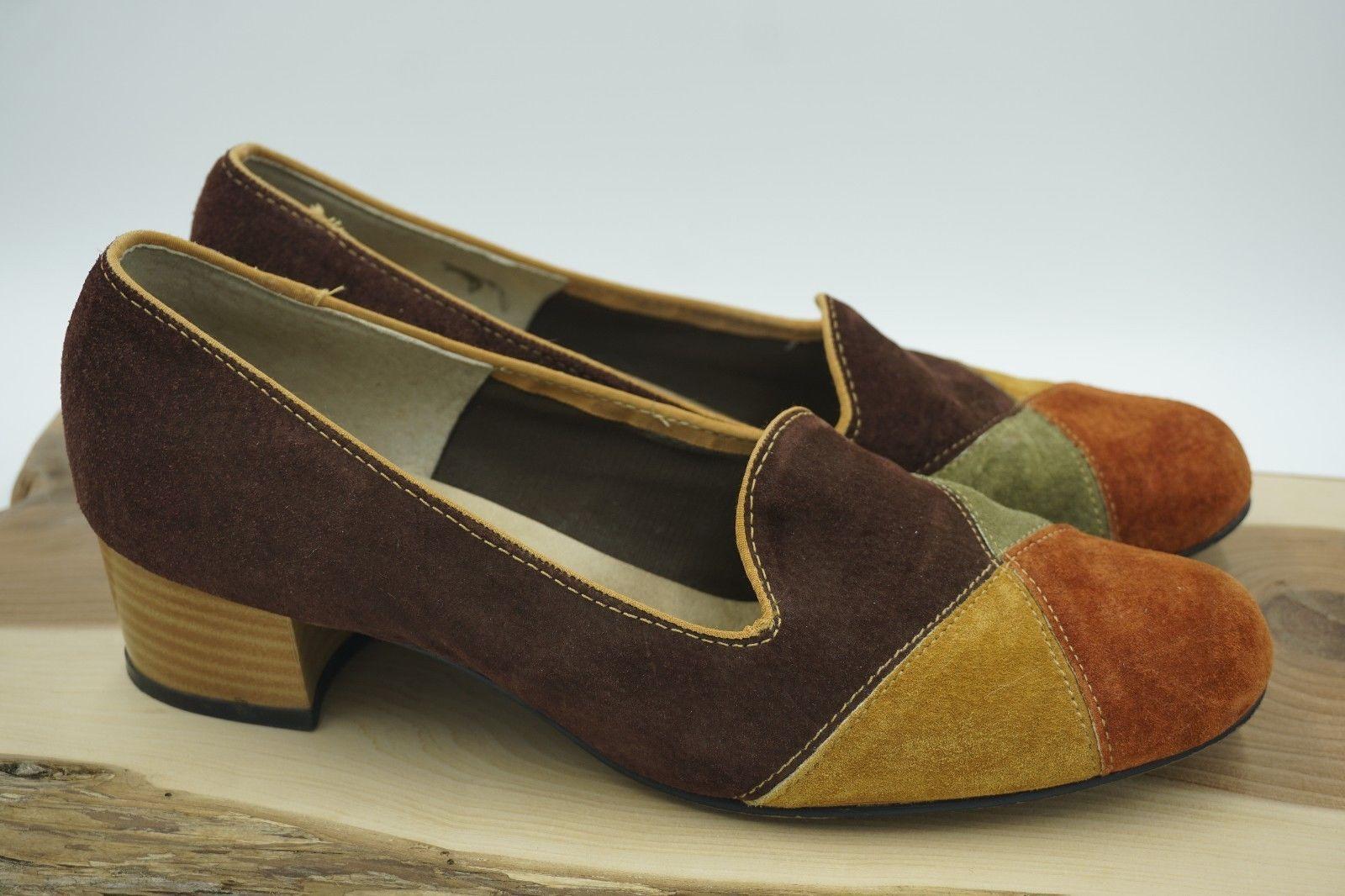 Vintage Hush Puppies Women S Suede Heels Shoes Size 10 70s Mod