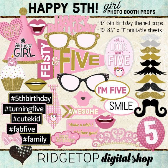 15th Birthday party Gold GLITTER Printable Rose Gold INSTANT DOWNLOAD Birthday photo booth props 15th Birthday photo booth props