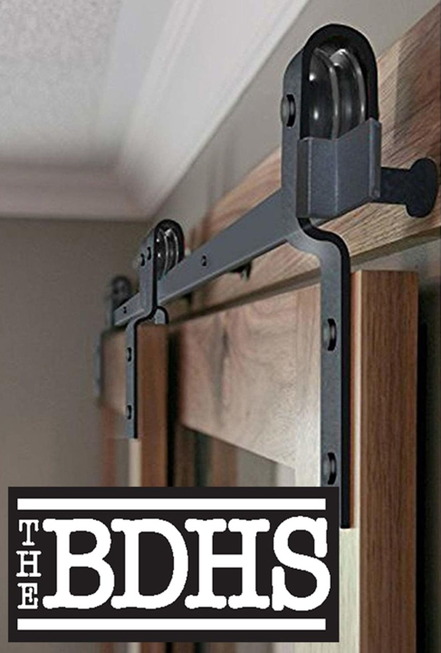 Single Track Bypass Double Door Sliding Barn Door Hardware Kit