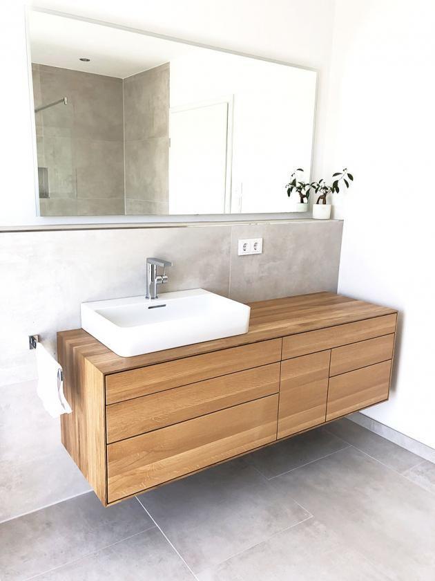 Waschtischunterschrank, aus, Holz, modern, massiv, Eiche, Waschtisch, Unterschrank, Holz, hängend, G