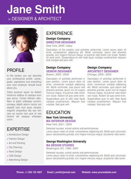 Find The Purple Professional Resume Template On WwwCvfolioCom