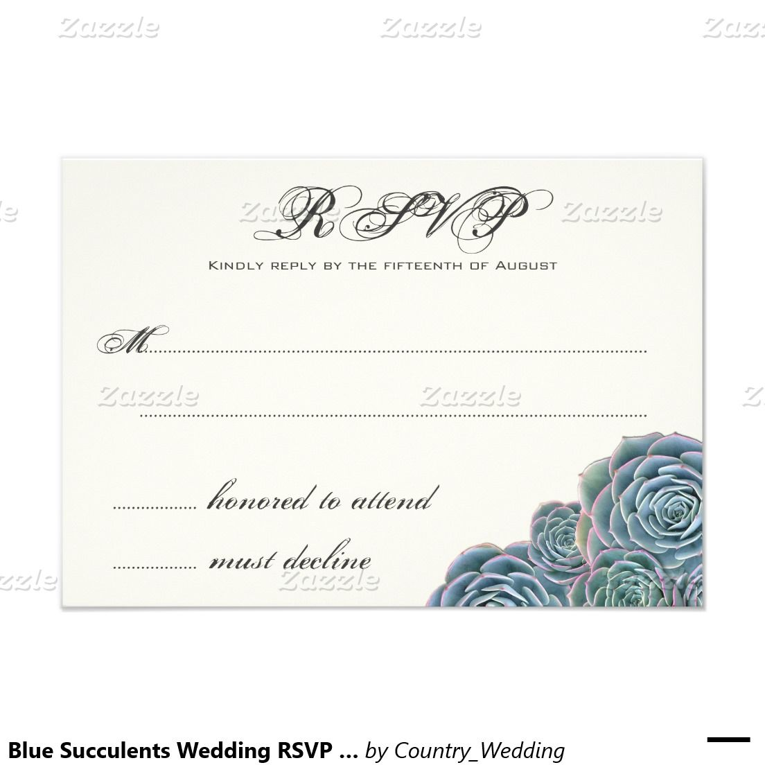 Blue Succulents Wedding Rsvp Extra Line 3 5x5 Paper Invitation Card