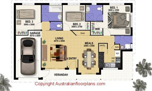 3 bed villa style house plans | Houses plans | Pinterest | Bed room ...